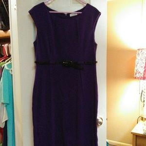 Calvin Klein Purple Dress With Black Belt